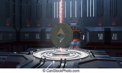 ethereum coin spinning in Sci-fi interior. - High-quality 4K...
