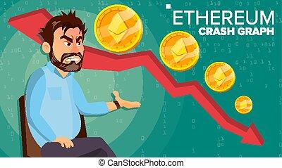Ethereum Crash Graph Vector. Surprised Investor. Negative...