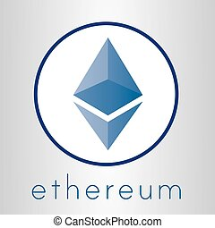 Ethereum cripto currency chrystal art icon for apps and websites. Ethereum vector logo for print of web.