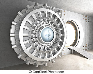 ethereum cryoto vault - crypto currency concept bank ...