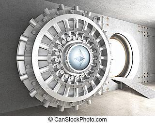 crypto currency concept bank ethereum vault door 3d rendering image
