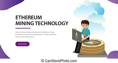 Ethereum crypto currency flat poster. Cartoon man sitting on...
