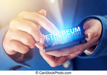 Ethereum cryptocurrency concept with female hands and ...