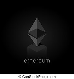 Ethereum. Cryptocurrency Ethereum logo. Cryptography modern...