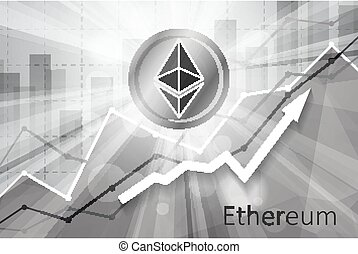 Ethereum cryptocurrency in the bright rays on background ...