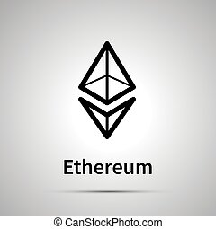 Ethereum cryptocurrency simple black icon with shadow