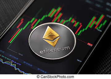 Ethereum cryptocurrency trading on smartphone close up