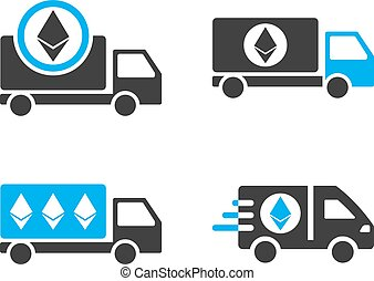Ethereum Delivery Car Vector Icon Set