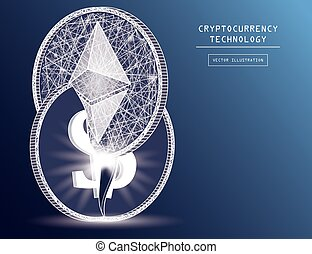 Ethereum digital coin damage world finance system based on dollar concept vector illustration. Crypto token coins with ethereum and dollar symbols. Blockchain cryptocurrency concept