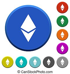 Ethereum digital cryptocurrency beveled buttons