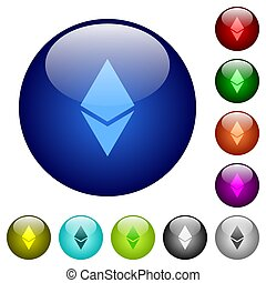 Ethereum digital cryptocurrency color glass buttons