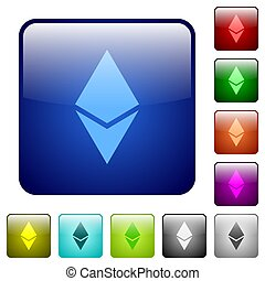 Ethereum digital cryptocurrency color square buttons