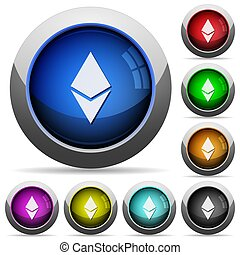 Ethereum digital cryptocurrency round glossy buttons