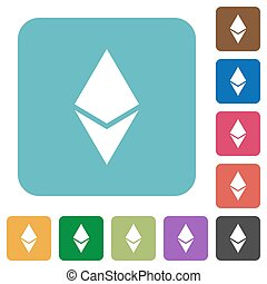 Ethereum digital cryptocurrency rounded square flat icons