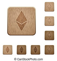 Ethereum digital cryptocurrency wooden buttons