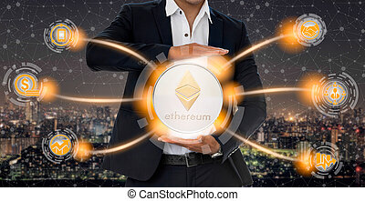 Ethereum ETH and cryptocurrency investing concept. - ...