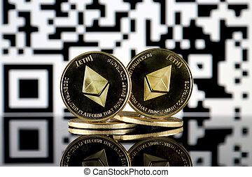 Ethereum (ETH) and QR Code (Ethereum Wallet Address) concept...