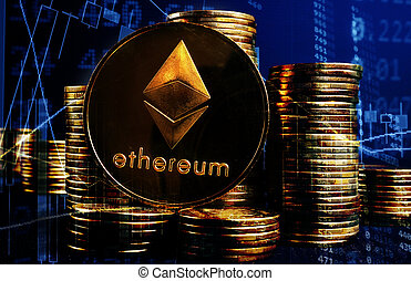 Ethereum ETH and stacks of coins. Cryptocurrency stock ...