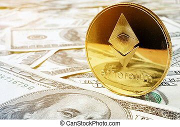 Ethereum ETH coin and dollars. Cryptocurrency exchange.