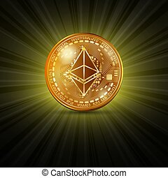 Ethereum golden coin - Golden ethereum cryptocurrency coin...