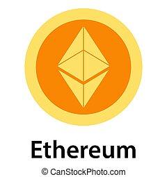Ethereum icon, flat style