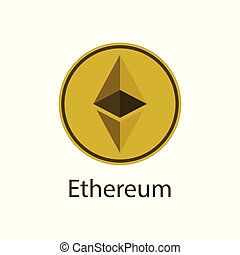 Ethereum icon simbol, coin logo of digital on white ...