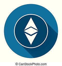 Ethereum icon simbol, coin logo of digital with long shadow ...