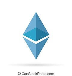 Ethereum logo sign with shadow. Vector illustration