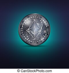 Ethereum metal coin - Dark blue coin with ethereum...