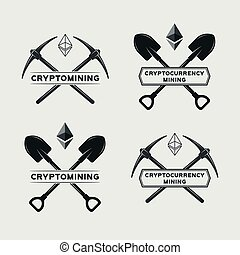 Ethereum mining symbol. Vector cryptocurrency mining emblem....