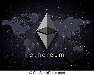 ethereum, monnaie, illustration, basé, sur, planisphère, et, espace, à, étoiles, fond