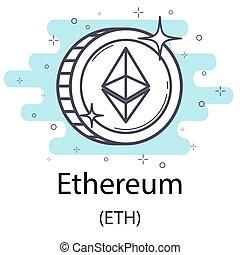 Ethereum outline coin - White ethereum cryptocurrency coin ...
