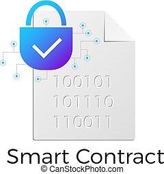 Smart Contract ethereum icon vector blockchain blue