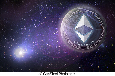 ethereum symbol hologram over planet in space - ...