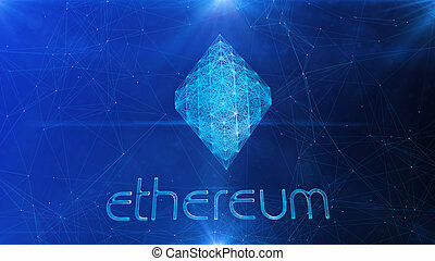 Ethereum Symbol in Blue Cyberspace