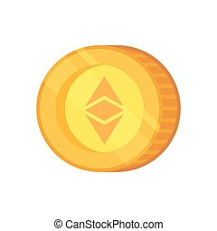 Ethereum vector sign. Cryptocurrency with huge market capitalization. Based on blockchain technologie.