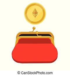 Ethereum wallet concept. Golden ethereum coin red purse
