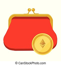 Ethereum wallet concept. Golden ethereum coin red purse