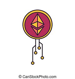 Etherium icon, cartoon style