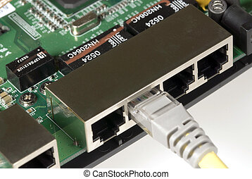 Ethernet Cable & Router - Close up detail of the basic...