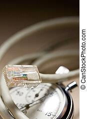 ethernet, cable, y, cronómetro