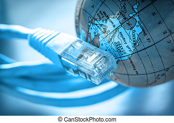 ethernet, cable, y, globo