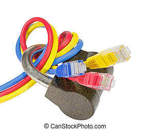 Ethernet cables with a padlock