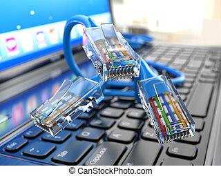 ethernet, concept., internet, laptop, cables.