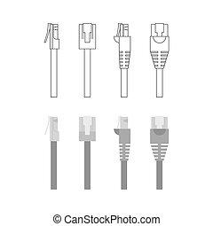 ethernet, connecteurs, vecteur, ensemble