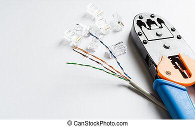 ethernet, crimper, verbinder, kabel