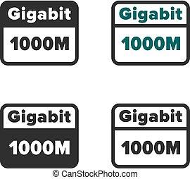 ethernet, gigabit, ícone
