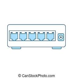 ethernet, interruptor, ícone