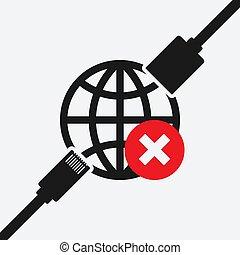 ethernet, símbolo, connector., separar, erro