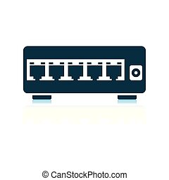 Ethernet switch icon. Shadow reflection design. Vector...